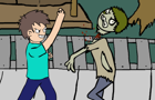 Steve Punches Zombie Face by MocaNico