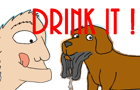 A Guy Drinking Dog Slime by BrenetComics