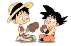 luffy and goku eating by Nounouille