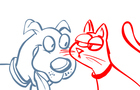 Panting Dog Punching Cat