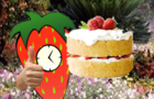 strawberryclock protects his birthday cake