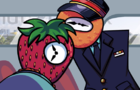 Strawberry Clock Rides the Train