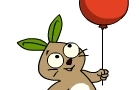 Fluffy with balloon