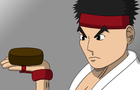 Ryu eats chocolate