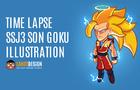Time Lapse SSJ3 Son Goku Illustration