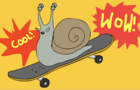 It's a snail on a skateboard!
