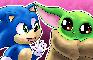 Baby Sonic Meets Baby Yoda
