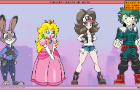 4 character Dress UP game (machine-malfunction)